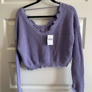 Forever 21 distressed open-back purple sweater S